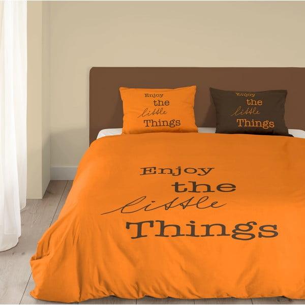 Oranžové bavlnené obliečky Muller Textiels Enjoy, 140 x 200 cm