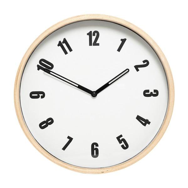 Biele nástenné hodiny Hübsch Purus