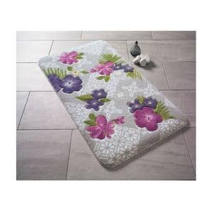 Vzorovaná fialová predložka do kúpeľne Confetti Bathmats Tropical, 80×140cm