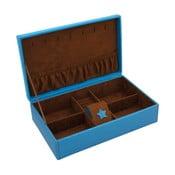 Modrá šperkovnica Friedrich Lederwaren Baccara, 30x19 cm