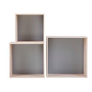 Sada 3 sivých poličiek Nørdifra Cubes