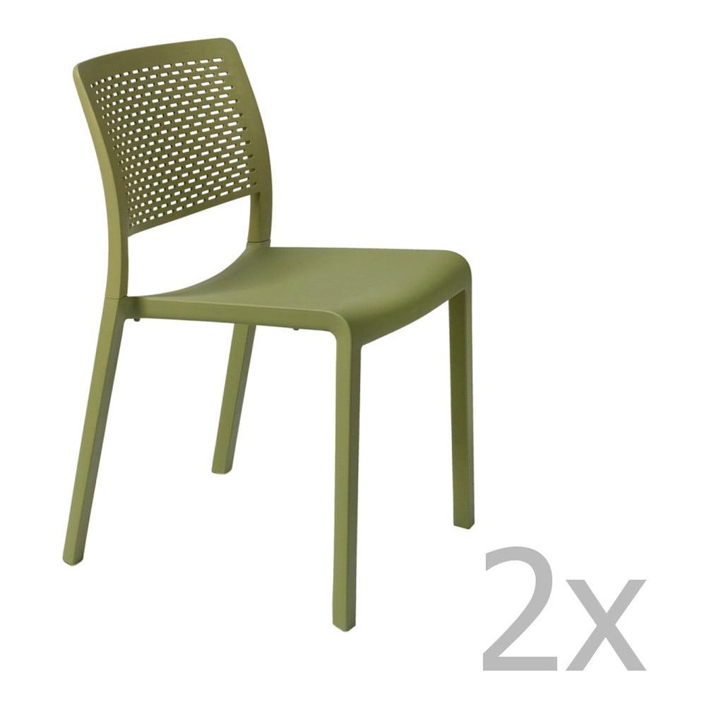 4b482e891c45e Sada 2 zelených záhradných stoličiek Resol Trama Simple