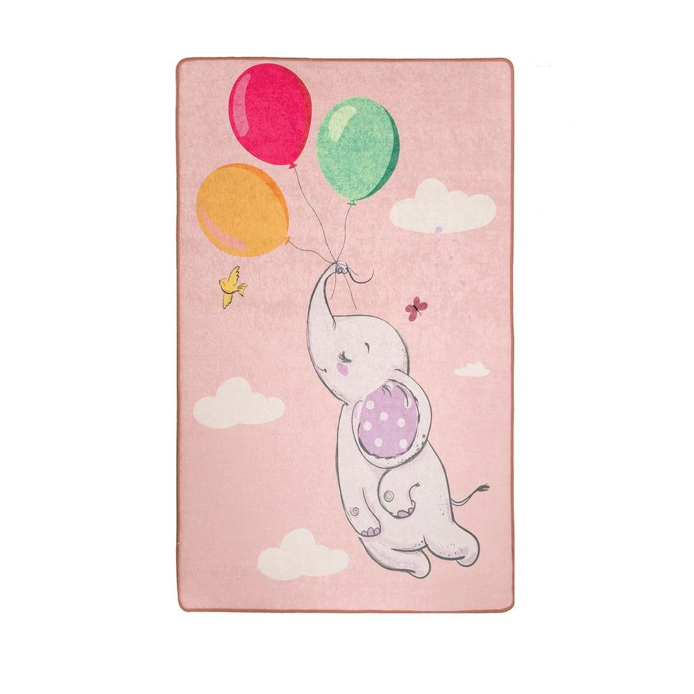 Ružový detský protišmykový koberec Chilam Balloons, 140 x 190 cm