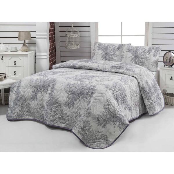 Prešívaná prikrývka a obliečky na vankúše Sedir Grey, 200x220 cm
