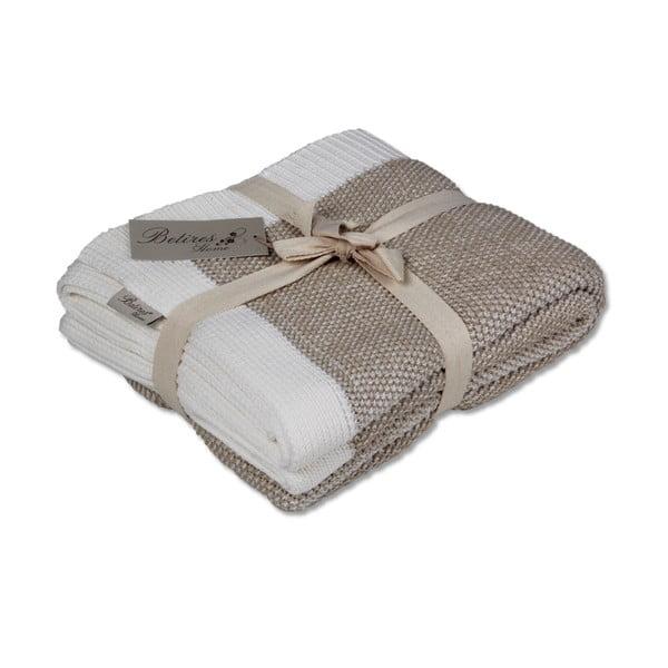 Hnedo-biela bavlnená deka Clen