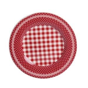 Dezertný tanier Red Dots&Checks, 20.5 cm