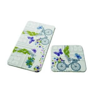 Sada 2 kúpeľňových predložiek Confetti Bathmats Spilled Flowers Purple