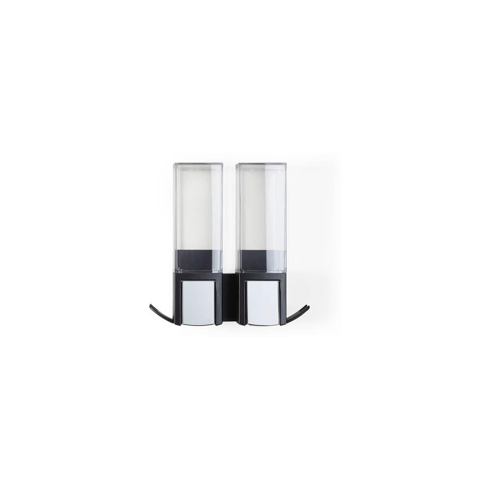 Čierny nástenný samodržiaci dvojitý dávkovač na mydlo Compactor Clevek Double Dispenser