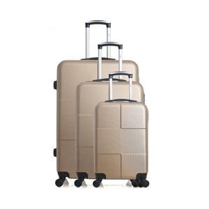 Sada 3 cestovných kufrov v zlatej farbe na kolieskach Hero Coronado