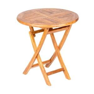 Skladací záhradný stôl s doskou z teakového dreva Massive Home Shankar, ⌀75cm