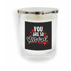 Biela sviečka North Carolina Scandinavian Home Decors Motto Glass Candle V13