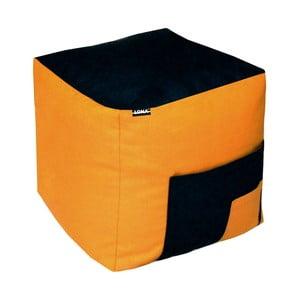 Sedací puf Lona, čierny/oranžový