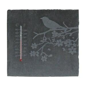 Bridlicový hranatý teplomer s motívom vtáčika Esschert Design, 22 x 22 cm