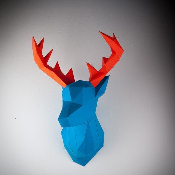 Papierová trofej Jeleň, modro-oranžový