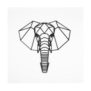 Čierna nástenná dekorácia Elephant, 39 × 65 cm