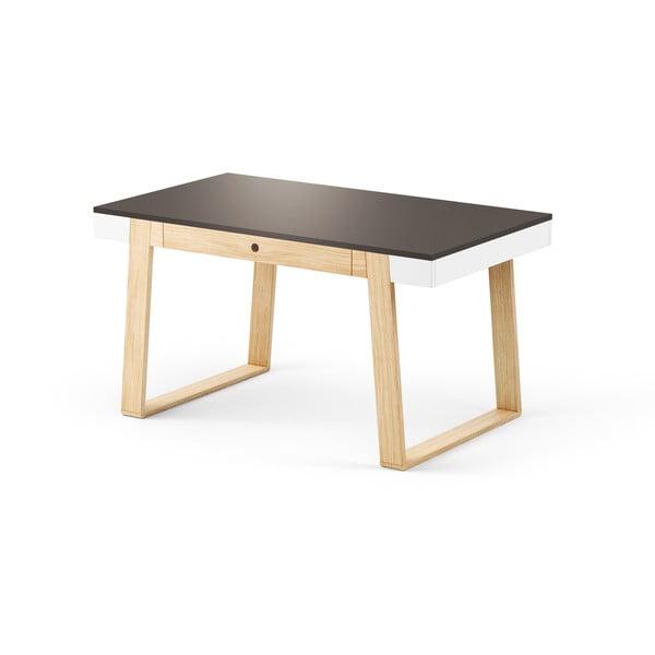 Stôl z dubového dreva s čiernou doskou a bielymi detailmi Absynth Magh, 140x80cm