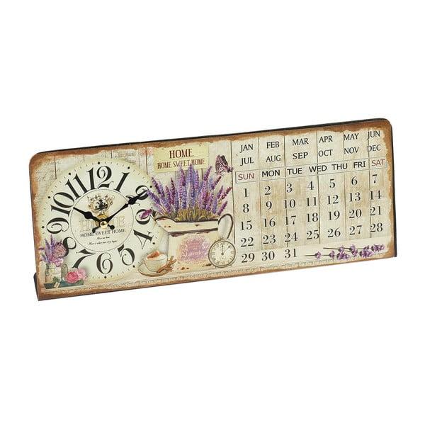 Nástenné hodiny s kalendárom Lavender, 35x14 cm