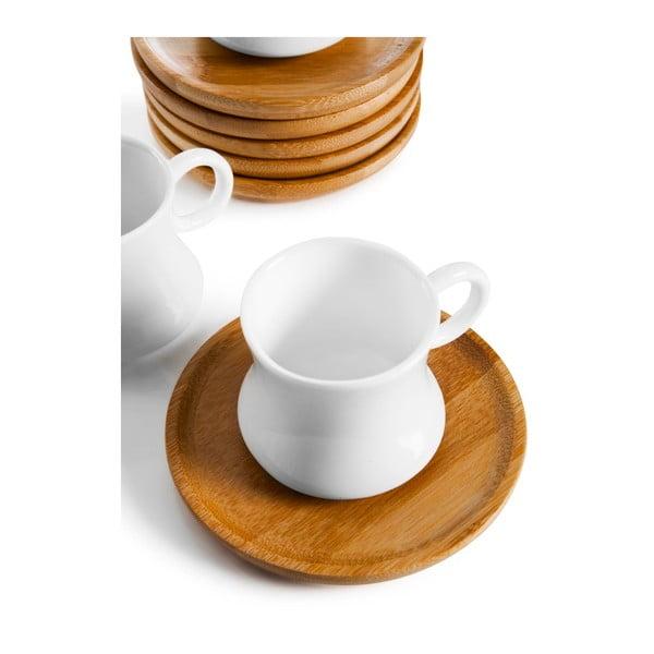 Sada 6 porcelánových hrnčekov s bambusovými tanierikmi Bambum Largi