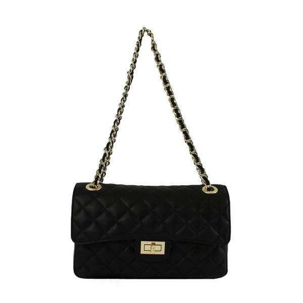 Čierna kožená kabelka Chicca Borse Chiara