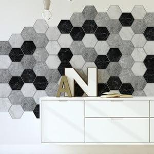 Sada 28 dekoratívnych samolepiek na stenu Ambiance Hexagons Marble, 15×13,5 cm