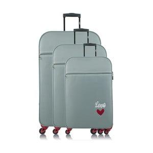 Sada 3 svetlomodrých cestovných kufrov na kolieskach INFINITIF Love