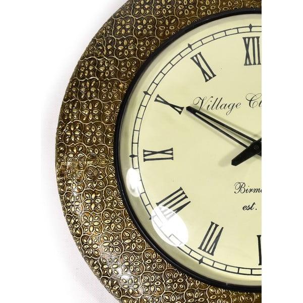 Nástenné hodiny z tepaného kovu Karnátaka, 47 cm