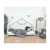 Biela detská posteľ z lakovaného smrekového dreva Benlemi Sidy, 90×160 cm