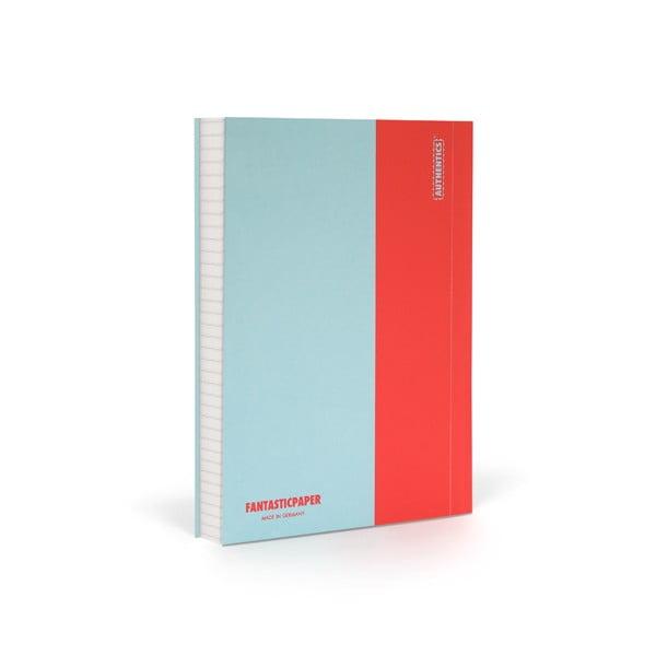 Zápisník FANTASTICPAPER A6 Skyblue/Warm Red, štvorčekový