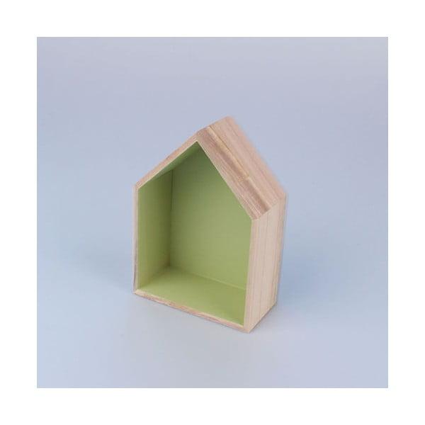 Závesná polička Domček 12x17 cm, zelená