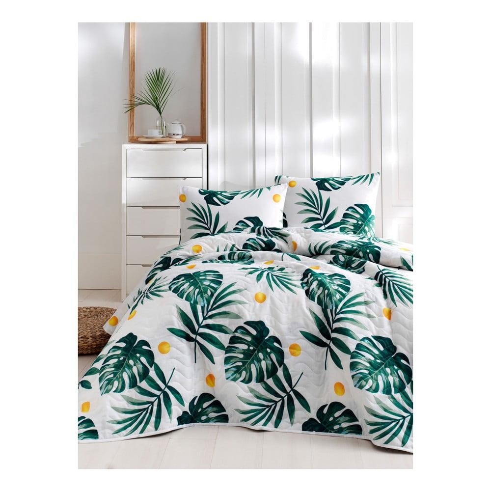 Set bavlnenej prikrývky cez posteľ a obliečky na vankúš Lura Jungle, 160 × 220 cm