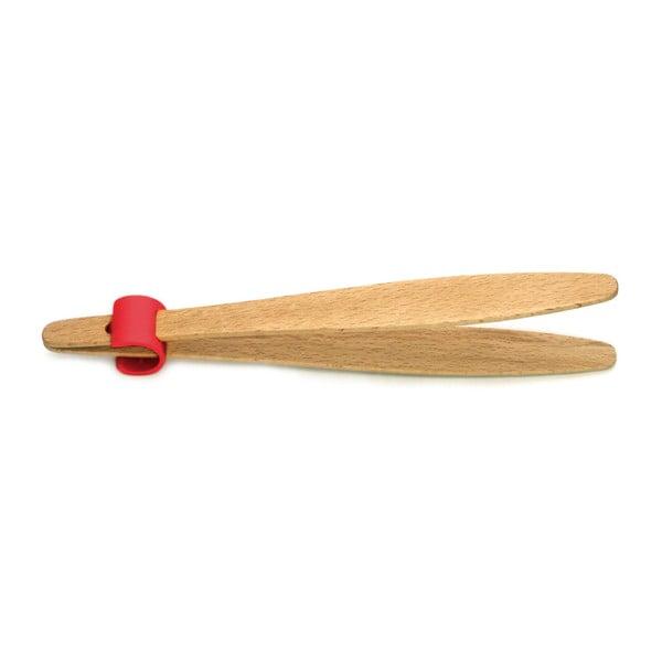 Kliešte na uhorky s červeným detailom z bukového dreva Jean Dubost Handy, dĺžka 22 cm