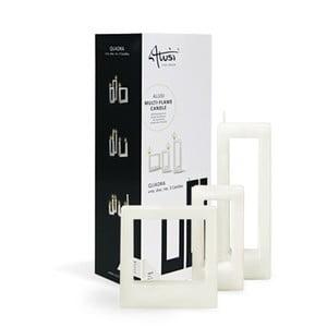 Sada 3 bielych sviečok Alusi Quadra Family