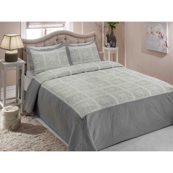Sada prikrývky na posteľ a dvoch vankúšov Double 222, 250x260 cm