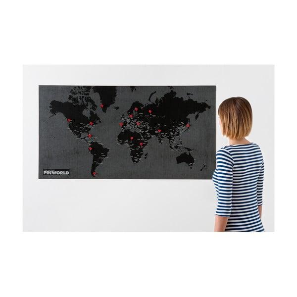 Čierna nástenná mapa sveta Palomar Pin World, 126×68cm