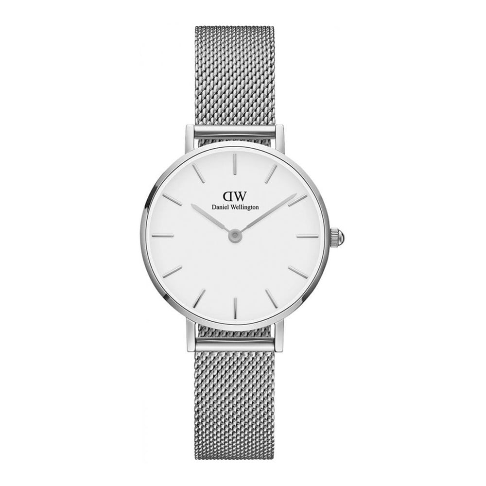 Dámske hodinky v striebornej farbe s bielym ciferníkom Daniel Wellington Petite, ⌀ 28 mm