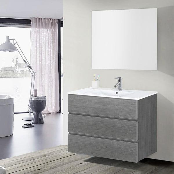 Kúpeľňová skrinka s umývadlom a zrkadlom Nayade, odtieň sivej, 100 cm