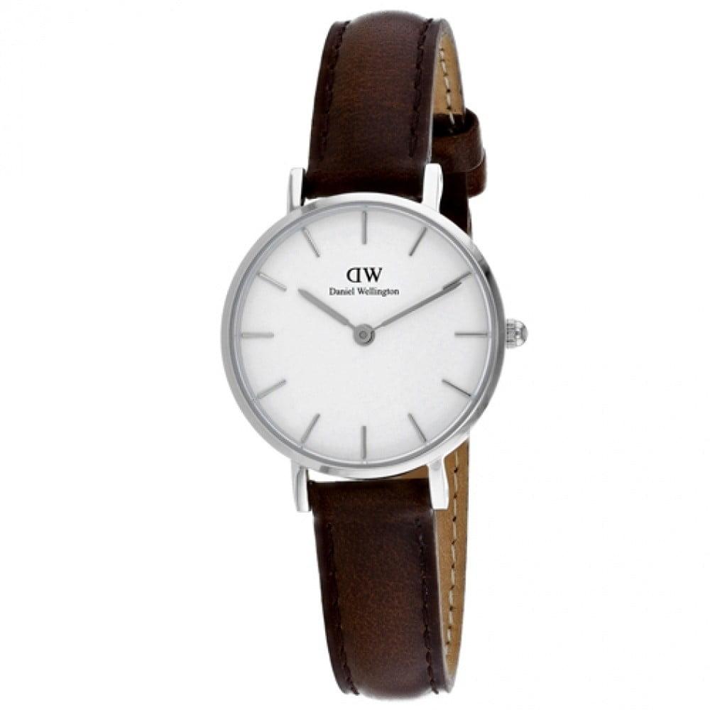 Dámske hodinky s koženým remienkom a bielym ciferníkom v striebornej farbe Daniel Wellington Petite Bristol, ⌀ 28 mm