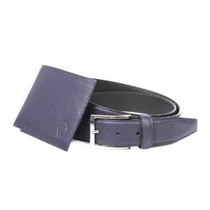 Pánsky darčekový set modrej koženej peňaženky a opasku Trussardi Mikolas