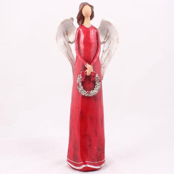 Červený anjel s vencom Dakls