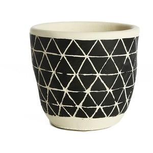 Čierny keramický kvetináč Simla Diamond, výška 11 cm