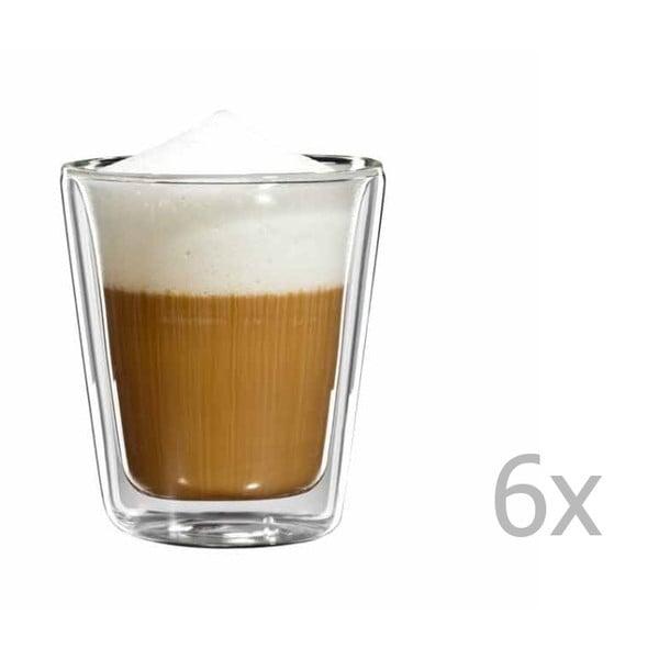 Sada 6 sklenených hrnčekov na cappuccino bloomix
