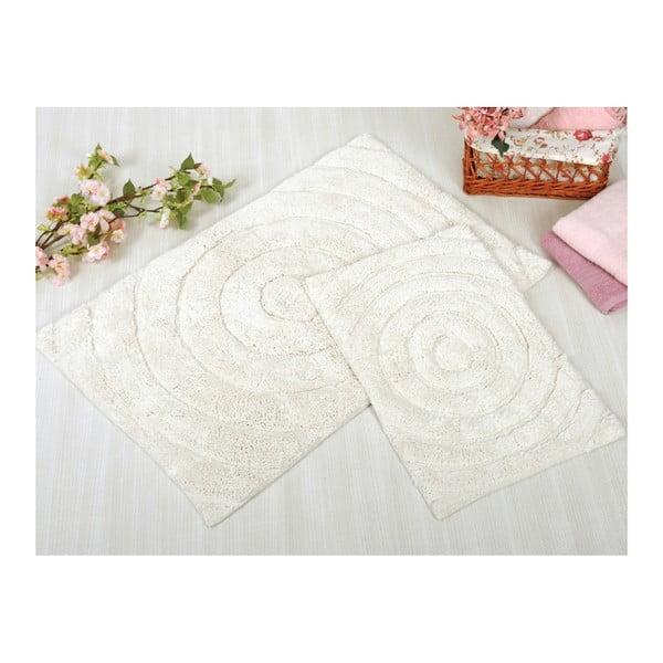 Sada 2 krémových kúpeľňových rohožiek Irya Home Waves, 60x100 cm a 40x60 cm