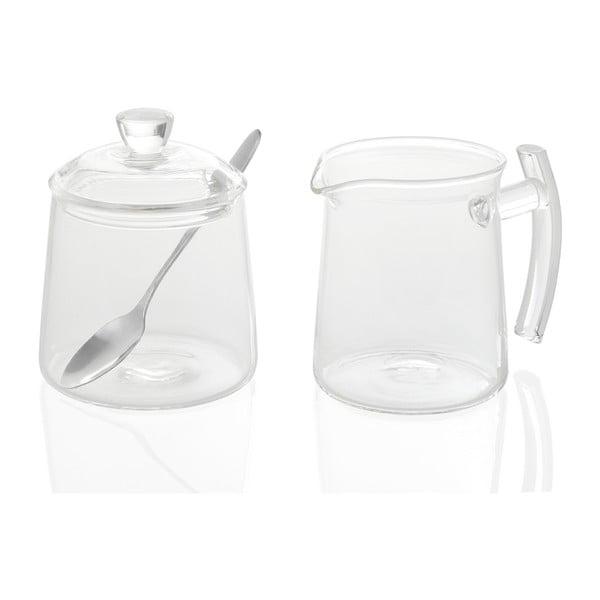 Set cukorničky a mliečenky Glass