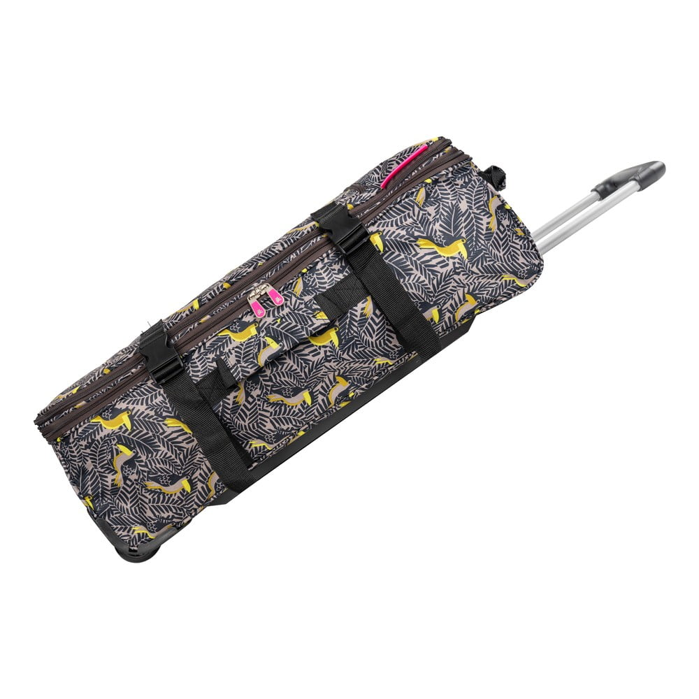 Zeleno-žltá cestovná taška na kolieskach Lulucastagnette Jungle, 91 l