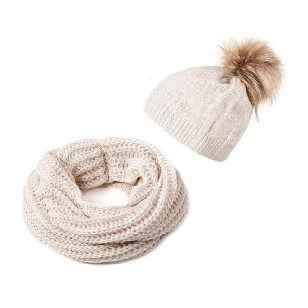 Sada čiapky a šálu Crochet Beige