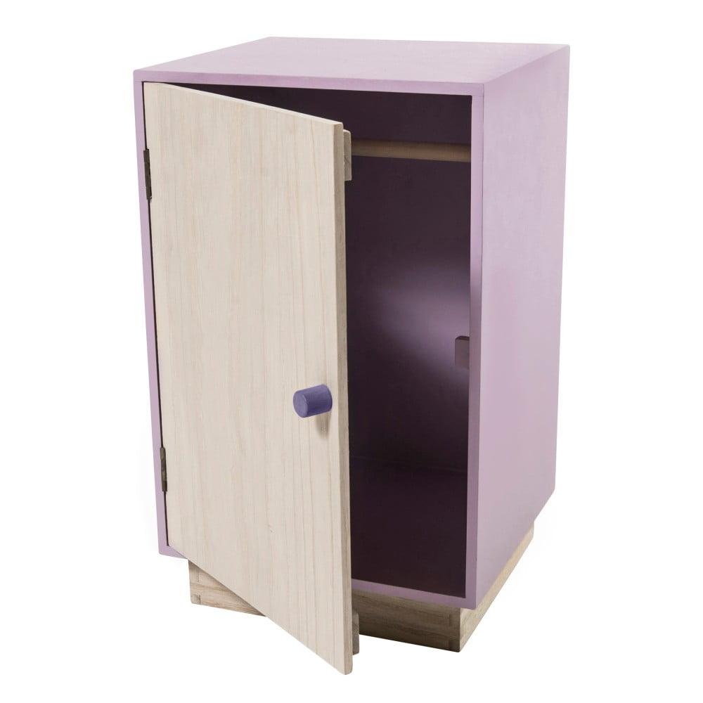 63dad1db8d36 Drevená fialová skriňa na oblečenie pre bábiky Sebra Dolls Closet ...