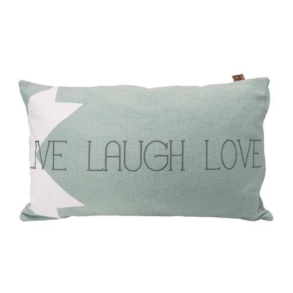Svetlosivý vankúš OVERSEAS Live Laugh Love, 30x50cm