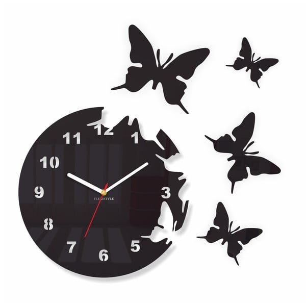 Hodiny z plexiskla Butterfly Black