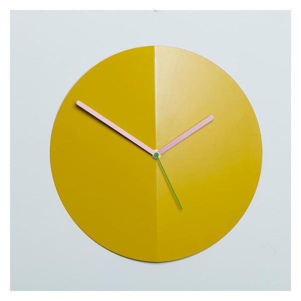 Nástenné hodiny Mountain Fold, žlté