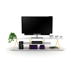 Biely TV stolík so žltým detailom Rafevi Tars
